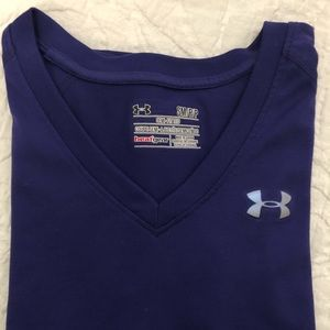 Under Armour Tops - Under Armour Semi Fitted Heat Gear V-Neck T, sm
